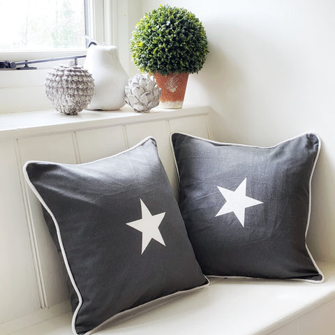 Large (40x40cm) dark grey white star cushion