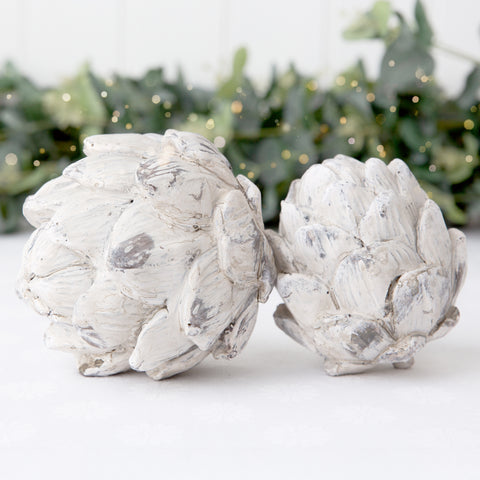 ceramic stone effect artichoke ornament