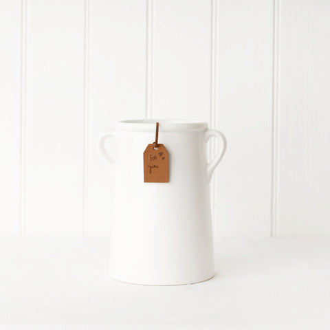 Tall White Milk Churn Pot