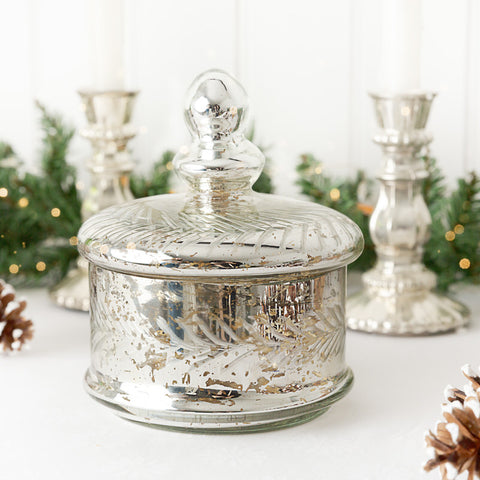 silver mercury glass trinket jar gift