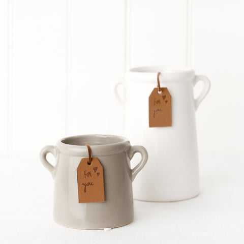 Small grey milk churn planter with for you tag