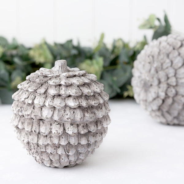 ceramic grey distressed pine cone ornament