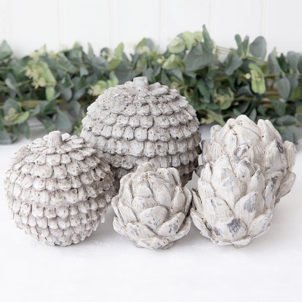 ceramic grey rustic pine cone and artichoke decorations