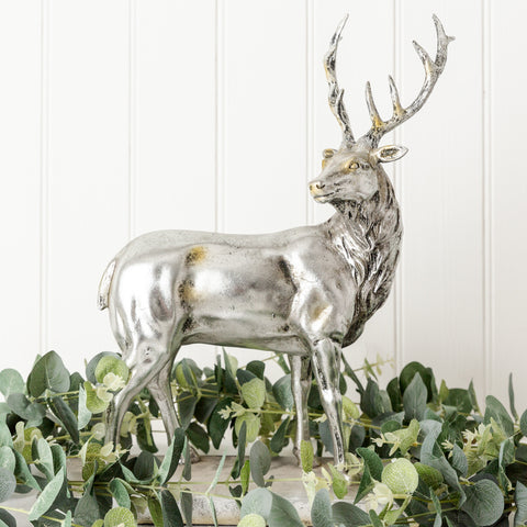 Large silver standing stag decoration