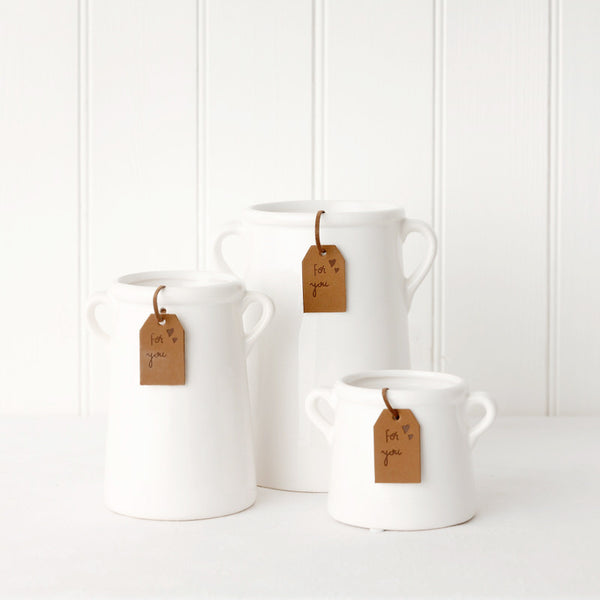 Medium White Milk Churn Pot
