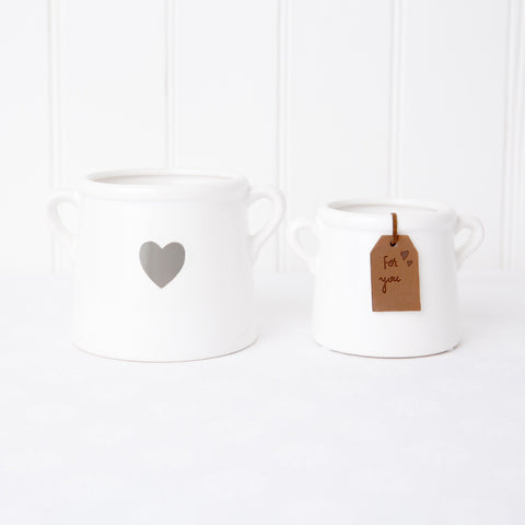 white milk churn pot planter with grey heart