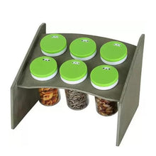 Load image into Gallery viewer, 094 Multipurpose Wooden Base Stand Spice Rack Masala Organiser - 6 Pcs