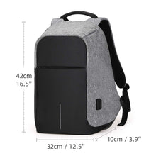 Load image into Gallery viewer, 1208 Smart Grey Laptop Backpack with USB Plug Charging Port