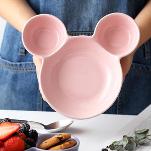 863 Unbreakable Mickey Shaped Kids/Snack Serving Sectioned Plates (Assorted Colors) (Pack of 2)
