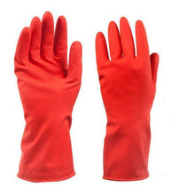 Load image into Gallery viewer, 661 - Flock line Reusable Rubber Hand Gloves (Red) - 1pc