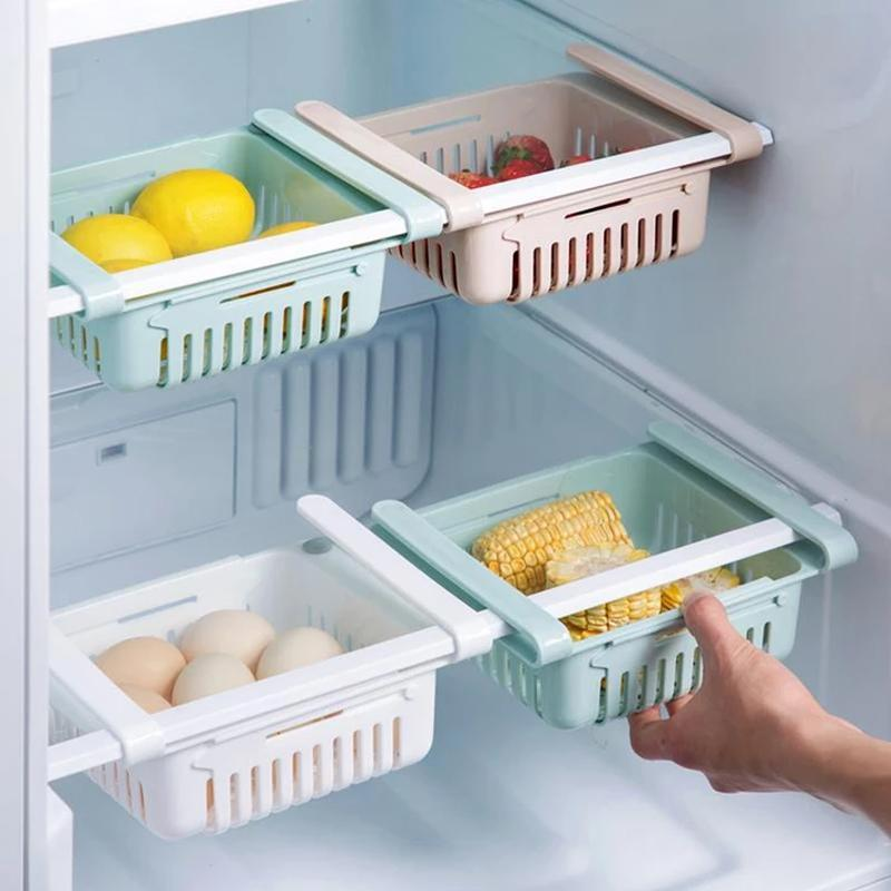 113 Adjustable Fridge Storage Basket, Fridge Racks Tray Sliding Storage Racks-Pack of 2
