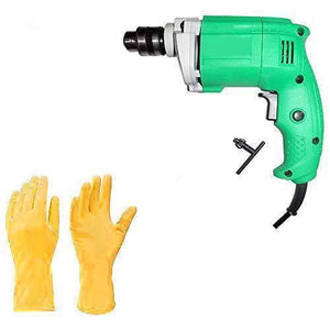 HomefyShop Metal Electric Drill and Gloves (Multicolor, 2-Pieces)