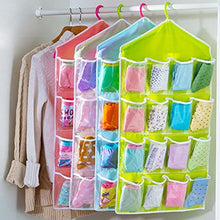 Load image into Gallery viewer, Washable 16 Grids Pouch Clothes Socks Underwear Bra Hanging Storage Bag Organizer--Pack of 2
