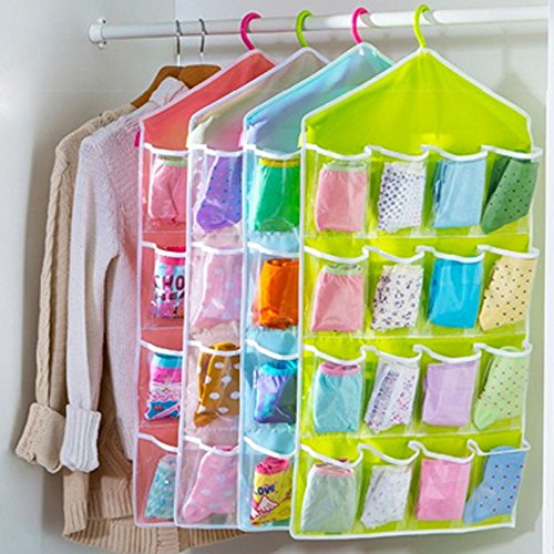 Washable 16 Grids Pouch Clothes Socks Underwear Bra Hanging Storage Bag Organizer--Pack of 2