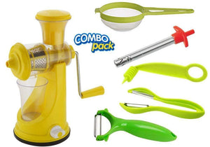 HomefyShop Kitchen combo - Manual Fruit Juicer, Vegetables Spiral Cutter, Gas Lighter, Big Tea Strainer Sieve/Chai Chalni with Single sided & Double sided peeler (6 pcs)