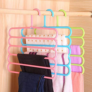587 5 in 1 Multipurpose Plastic Hanger, Assorted (5-Layer)--Pack of 3