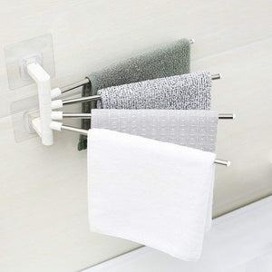 4 Bars Stainless Steel Towel Rack with Wall Stick Adhesive Pads for Kitchen Bathroom.