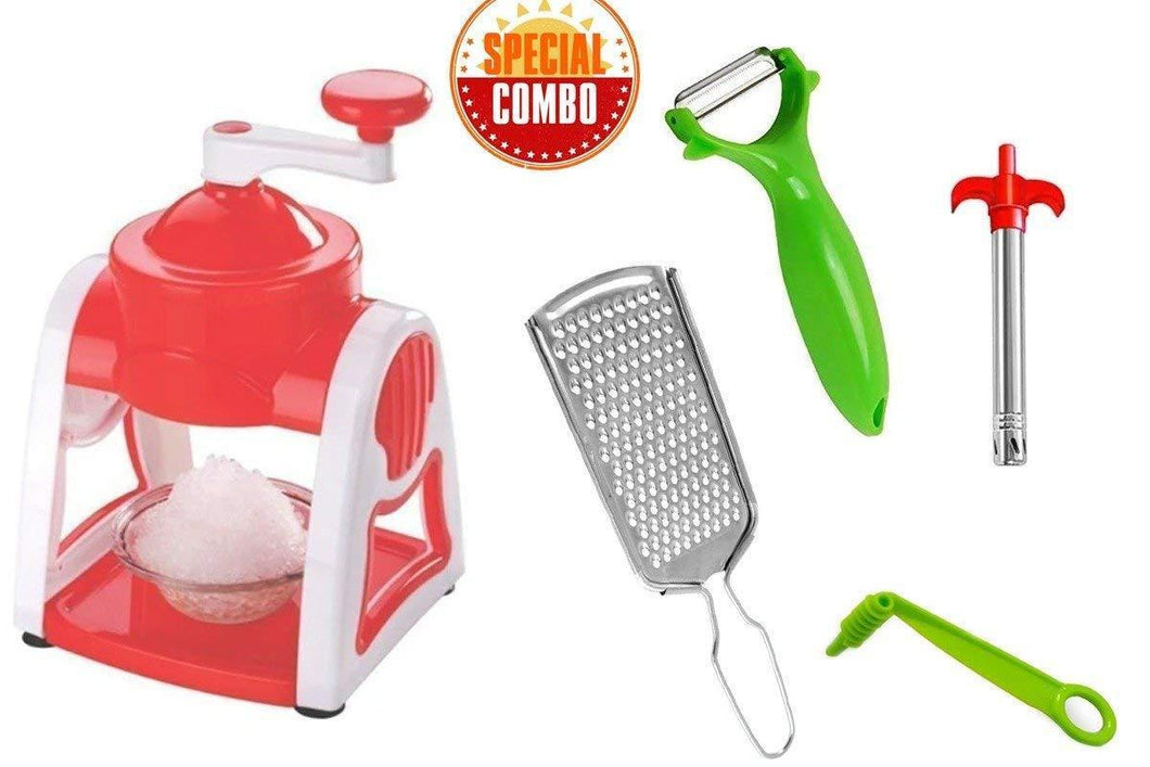 HomefyShop Kitchen Combo - Ice Gola Maker Machine, Vegetables Grater, Gas Lighter, Vegetable/Fruit Peeler & Vegetables Spiral Cutter/Spiral Knife (5pcs)