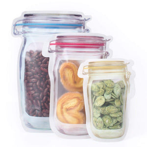 3312 Plastics Transparent Jar Shaped Standup Pouch With Zipper, for Packing Dry Fruits, Nuts, Snacks - Pack of 4