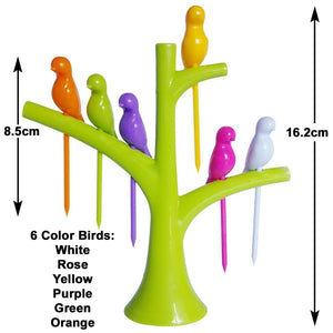 HomefyShop Fancy Bird Table Fork with Stand for Eating Fruits - Pack of 6