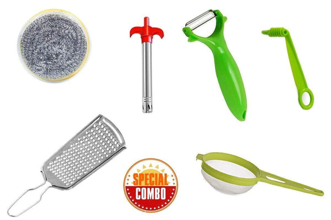 HomefyShop Mix Combo - Kitchen Scrubber, Gas Lighter, Vegetables Grater, Vegetable/Fruit Peeler, Vegetables Spiral Cutter/Spiral Knife and Big Tea Strainer Sieve (6pcs)