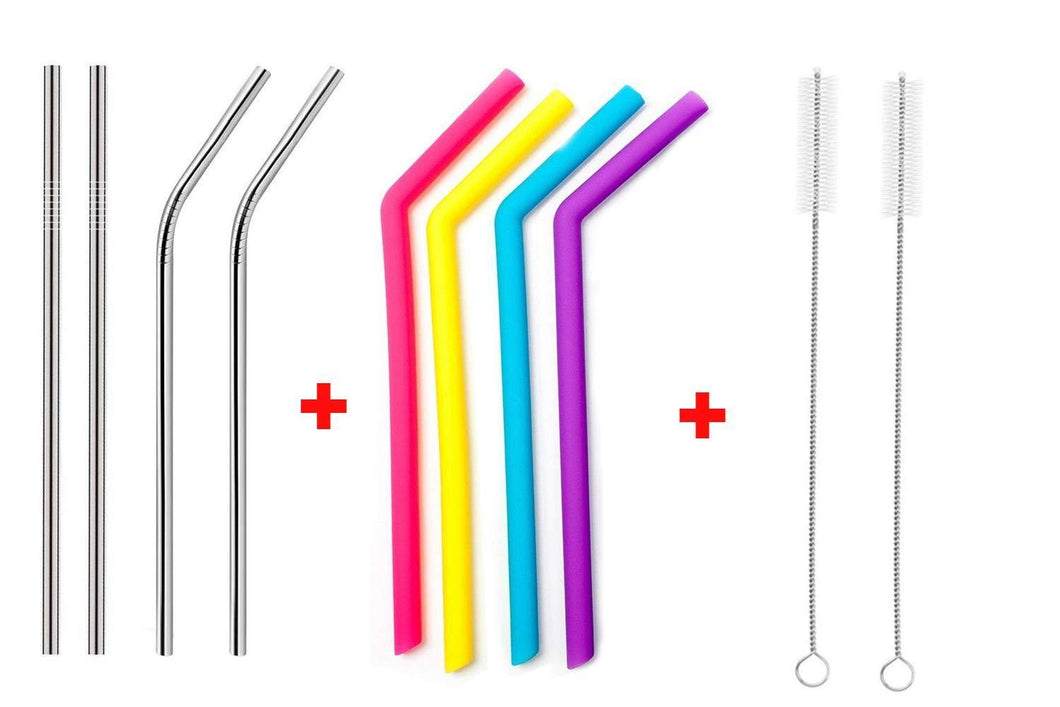 HomefyShop Food Grade Silicone Straws(4pc), Stainless Steel Straws(4pc) & Straw Cleaning Brush(2pc)