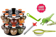 Load image into Gallery viewer, HomefyShop Kitchen combo - Revolving 16pc Plastic Spice Rack, Vegetables Spiral Cutter, Gas Lighter, Big Tea Strainer Sieve/Chai Chalni with Vegetables Cutter/ Slicer / Peeler (5 pcs)