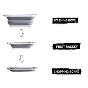 HomefyShop 3in1 Multi-Function Portable Foldable Chopping Board, Dish Rack, Washing Bowl & Draining Basket