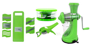 HomefyShop Kitchen Combo - Manual Juicer, 6 in 1 Slicer, Multi Crusher and Veg Cutter with Peeler