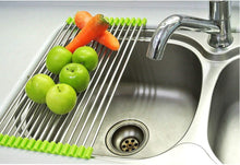 Load image into Gallery viewer, 2001_Stainless Steel Sink Folding Fruit Vegetable Drying Drain Rack Dish Drying Rack, Stainless Steel Roll-Up Over Sink Rack Kitchen Foldable Drying Drainer