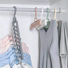 Load image into Gallery viewer, 238 9 Hole Plastic Hanger Hanging hook Indoor Wardrobe Clothes Organization Storage Balcony Windowsill Suit Racks-pack of 3