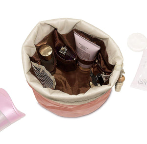 CZ03--Cotton and Nylon Bucket Barrel Round Shaped Cosmetic Makeup Travel Pouch Organizer