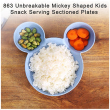 Load image into Gallery viewer, 863 Unbreakable Mickey Shaped Kids/Snack Serving Sectioned Plates (Assorted Colors) (Pack of 2)