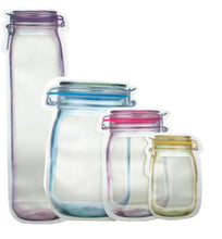 Load image into Gallery viewer, 3312 Plastics Transparent Jar Shaped Standup Pouch With Zipper, for Packing Dry Fruits, Nuts, Snacks - Pack of 4