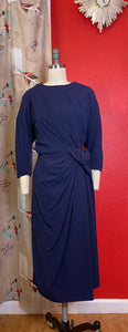 Vintage 1950s Dress • Royal Blue Asymmetrical Sculpted Dress • Large