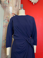 Load image into Gallery viewer, Vintage 1950s Dress • Royal Blue Asymmetrical Sculpted Dress • Large