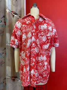 Vintage 1960s Shirt • Red & White Hibiscus Tropical Print from the Bahamas • Medium