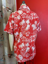Load image into Gallery viewer, Vintage 1960s Shirt • Red & White Hibiscus Tropical Print from the Bahamas • Medium