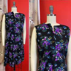 Vintage 1960s Dress • Black Floral Barkcloth Mini Scooter Dress • Medium