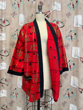 Load image into Gallery viewer, Vintage 1950s Robe • Red & Gold Asian Print Smoking Jacket Robe with Pockets • Medium