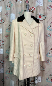 Vintage 1960s Coat • Lilli Ann Designer Black & White Coat • Medium