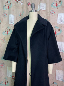 Vintage 1950s to 1960s Coat • Designer Lilli Ann Black Swing Coat with Lovely Lining • Small to Medium