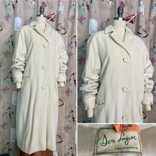 Load image into Gallery viewer, Vintage 1950s Coat • Don Loper Ivory Wool Dolman Sleeve Over Coat • Extra Large