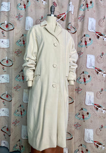 Vintage 1950s Coat • Don Loper Ivory Wool Dolman Sleeve Over Coat • Extra Large