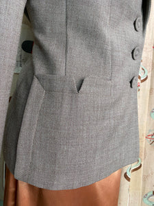 Vintage 1940s Blazer • Grey Gabardine Ladies Suit Jacket with Pockets • Large