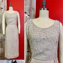 Load image into Gallery viewer, Vintage 1950s Dress • Ivory Linen Soutache Rhinestone Bombshell Wiggle Dress • Small