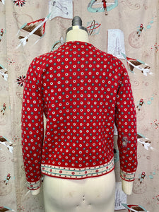 Vintage 1940s Cardigan • Red Winter Ladies Knit Sweater • Extra Small to Small