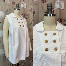 Load image into Gallery viewer, Vintage 1960s Shirt • Maternity 3D White Swing Style Blouse with Gold Anchor Buttons • Medium