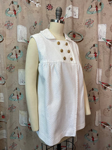 Vintage 1960s Shirt • Maternity 3D White Swing Style Blouse with Gold Anchor Buttons • Medium