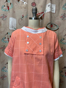 Vintage 1960s Blouse • Maternity Top in Peach Plaid Cotton Swing Shirt with Pockets • Small